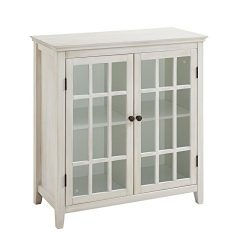 Riverbay Furniture Antique Double Door Curio Cabinet in White