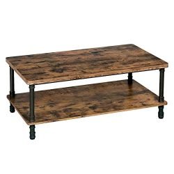 VASAGLE Industrial Coffee Table, Accent Table with Iron Pipe Legs and 1.2 Inch Thick Table Top,  ...