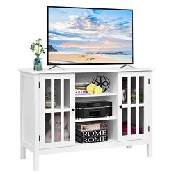 Tangkula TV Stand, Classic Design Wood Storage Console Free Standing Cabinet for TV up to 45R ...