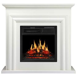 "JAMFLY 36"" Wood Electric Fireplace Mantel Package Freestanding Heater Corner Firebox with  ..."
