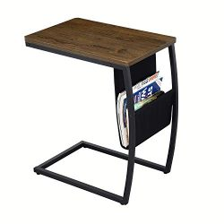 Sofa Side End Tables Living Room, Vintage Accent C Table with Side Pocket for Coffee Laptop