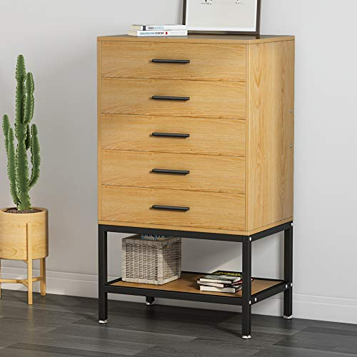 5-Drawer Dresser, LITTLE TREE Tall Accent Chests of Drawers with Open Storage, Works as File Cab ...