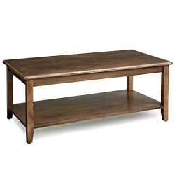 VASAGLE Large Coffee Table with Real Wood Legs, Simple Rustic Cocktail Table with Storage Shelf, ...