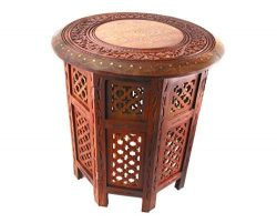 WellPackBox 18 Hand Carved Octagon Coffee End Table With Brass Inlay