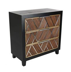 Deco 79 39861 Wood Stainless Steel Chest 31″ W, 32″ H, Brown/Black/Silver