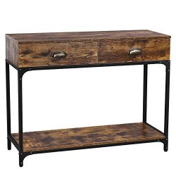 VASAGLE Industrial Console Table, Entryway Sofa Table with 2 Drawers and Shelf, Accent Storage w ...