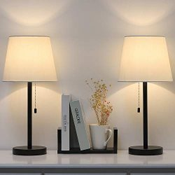 Modern Table Lamp Set of 2, Bedside Lamps for Bedroom, Living Room, Nightstand, Dresser, Desk, C ...