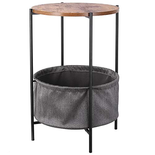HOMFA Vintage Round Side Table with Storage Basket Industrial Coffee Table Night Stand Wood Look ...