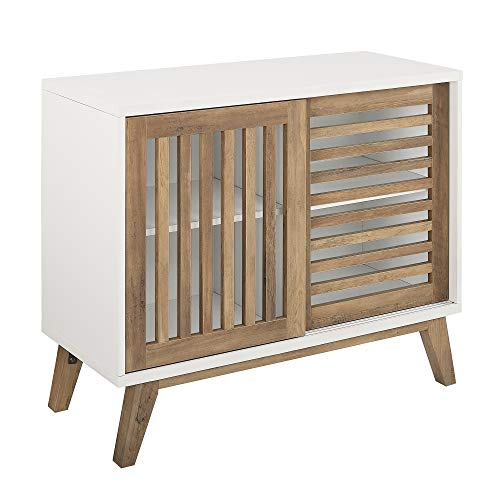 WE Furniture AZ36SSDSW TV Stand, 36″, White/Rustic Oak