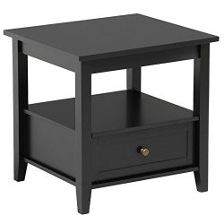 Topeakmart Black End Table with Bottom Drawer and Open Storage Shelf for Living Room Sofa Side Table