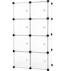 C&AHOME – DIY 8 Cube Organizer Storage Cabinet Wardrobe Closet with Door, Semitransparent