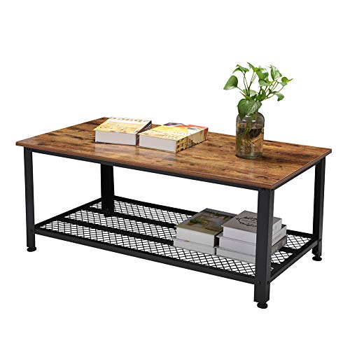 Rustic Coffee Table, Industrial Sofa Table Vintage Cocktail Wood End Table with Storage Shelf an ...
