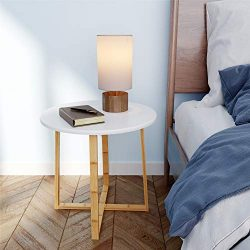 BAMEOS Side Table Modern Nightstand Round Side End Accent Coffee Table for Living Room Bedroom B ...