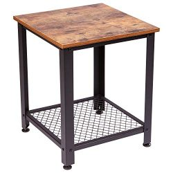 IRONCK End Tables Living Room, Side Table with Storage Shelf, Wood Look Accent Furniture with Me ...