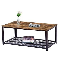 Trustiwood Vintage Industrial Coffee Table, Cocktail Table with Large Tabletop and Storage Shelf ...