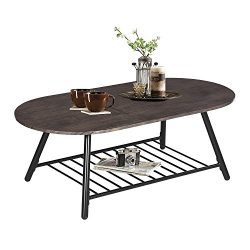 Coffee Table Wooden Industrial Feel Round Cocktail Table with Lower Metal Frame Vintage for Livi ...