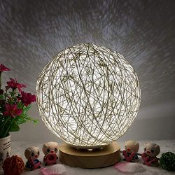 Hot Sale!DEESEE(TM)3D USB Charging LED Rattan Moon Night Light Moonlight Table Desk Moon Lamp (A)