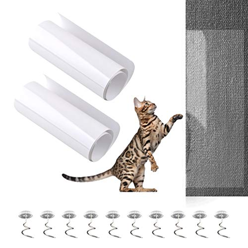 2Pcs Furniture Scratch Protectors from Cats Dogs Clawing 18×6In with 10Pcs Spiral Pins, Invisibl ...