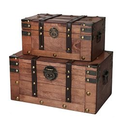 SLPR Alexander Wooden Trunk Chest with Straps (Set of 2, Rich Cognac) | Decorative Treasure Stas ...