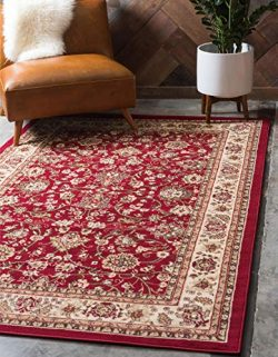 Unique Loom Kashan Collection Traditional Floral Overall Pattern with Border Burgundy Area Rug ( ...