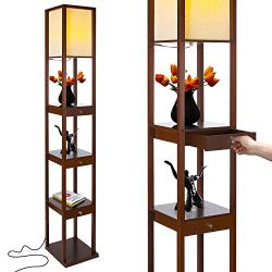Brightech Maxwell Drawer Edition – Shelf & LED Floor Lamp Combination – Modern L ...