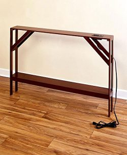 The Lakeside Collection Skinny Sofa Table with Outlet – Walnut