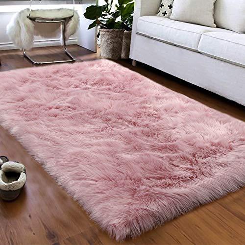 Softlife Faux Fur Sheepskin Area Rugs Shaggy Wool Carpet