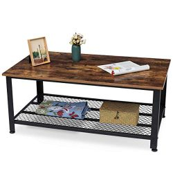 KingSo Industrial Coffee Table with Storage Shelf, Wood Look Accent Furniture with Metal Frame,  ...