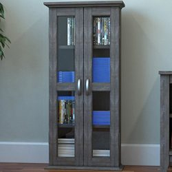 Ryan Rove Kirkwell 41″ Wood Bookcase Multimedia Organizer Shelf DVD Media Storage Tower wi ...