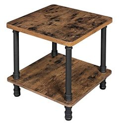 VASAGLE Industrial Side Table, End Table with 1.2 Inch Thick Table Top, Easy Assembly, Accent Ta ...