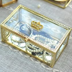 Hersoo Decorative Box Accent Trinket Case Clear Table Top Glass Lid Jewelry Display Vanity Organ ...