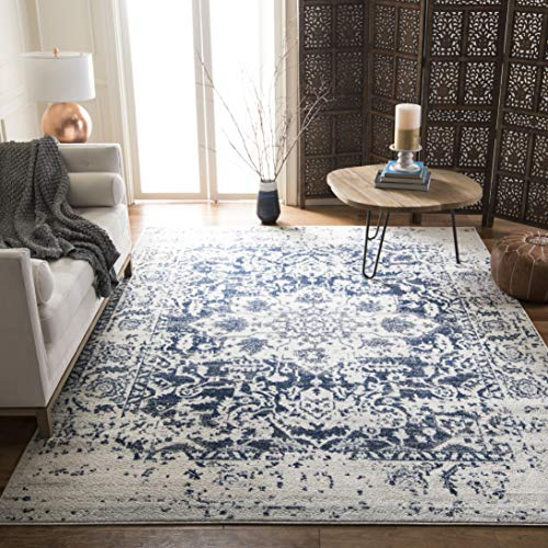 Safavieh Madison Collection MAD603D Cream and Navy Distressed Medallion Area Rug (9′ x 12& ...