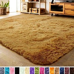 LOCHAS Luxury Velvet Living Room Carpet Bedroom Rugs, Fluffy, Super Soft Cozy, Bright Color, Hig ...