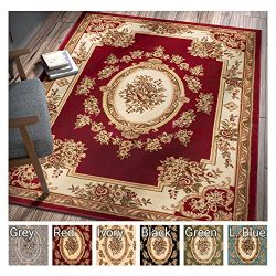 Pastoral Medallion Red French European Formal Traditional 5×7 (5'3″ x 7'3 ...