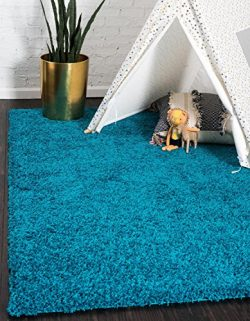Unique Loom Solo Solid Shag Collection Modern Plush Turquoise Area Rug (4′ 0 x 6′ 0)