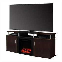 HEATAPPLY Living Room, Modern Electric Fireplace TV Stand in Cherry Black Wood Finish – Ho ...