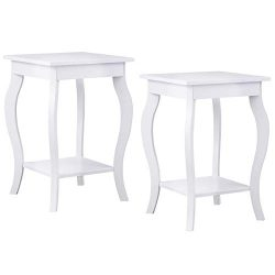 Giantex End Table 16″ W/Storage & Shelf Curved Legs Home Furniture for Living Room Acc ...