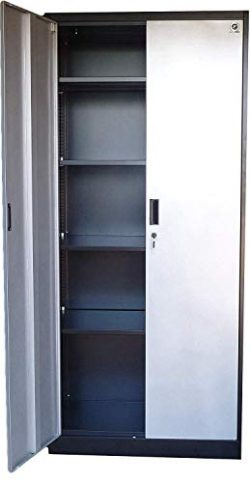 Steel Storage Cabinet 71″ Tall, Lockable Doors and Adjustable Shelves, Metal Locker for Ga ...