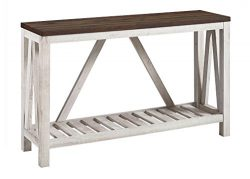 New 52 Inch A-Frame Rustic Entry Table – Dark Walnut Top with White Oak Finish