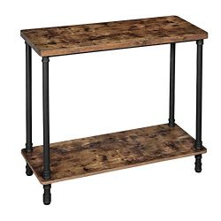 VASAGLE Industrial Console Table, Sofa Table with Iron Pipe Legs and 1.2 Inch Thick Table Top, E ...