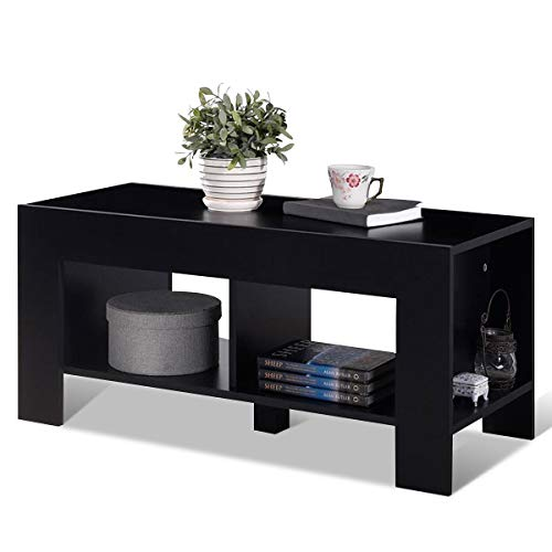 Tangkula Coffee Table, Tea Table with Storage Shelf, Sofa Table for Home Living Room Office Furn ...