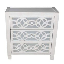 River of Goods Drawer Chest: Glam Slam 3-Drawer Mirrored Wood Cabinet Furniture – White