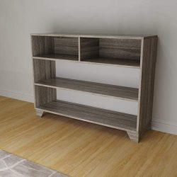 Weathered Grey Oak Entryway Console Sofa Table Bookshelf with Four Open Storage Display