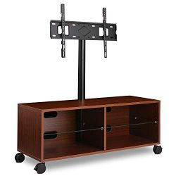 Rfiver Entertainment Center Wood Media TV Stand with Swivel Mount and Rolling Wheels for 32̸ ...