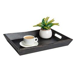 EZDC Wooden Coffee Table Tray, Dark Brown Black Modern Decorative Ottoman Rustic Serving Tray Wi ...