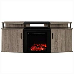 HEATAPPLY Sonoma Oak / Black Electric Fireplace TV Stand – Accommodate up to 70 – in ...