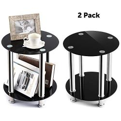 TAVR Glass Round End Table Set of 2 Industrial Night Stand Side Corner Coffee Table with Tempere ...