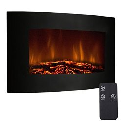 Tangkula 35″ Recessed Electric Fireplace, Adjustable Electric Wall Mount Fireplace Heater  ...