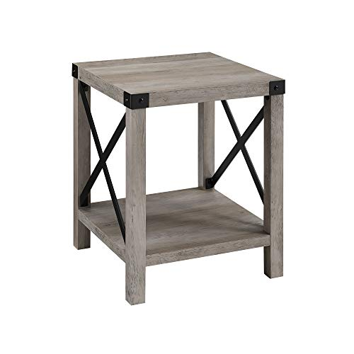 WE Furniture 18″ Small End Table for Living Room Grey Wash Accent Side Table Nightstand Rustic