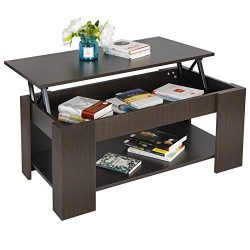 ZENY Coffee Table with Lift Top Hidden Compartment and Storage Shelves Modern Furniture for Home ...